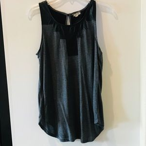 Eyeshadow tank. Dark grey and black leather. Large